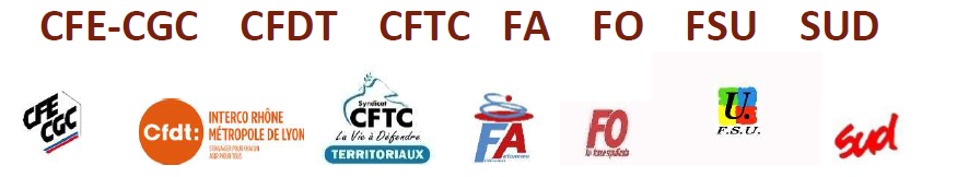 Intersyndicale CFTC, CFDT, CFE-CGC, FO, FA-FPT, SUD, FSU